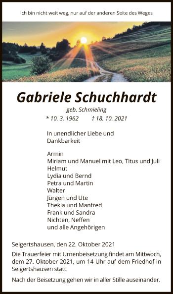 Traueranzeige von Gabriele Schuchhardt von HNA