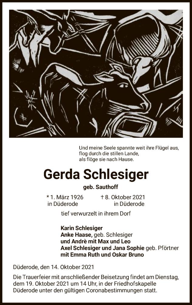Traueranzeige für Gerda Schlesiger vom 14.10.2021 aus HNA