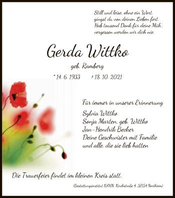 Traueranzeige von Gerda Wittko von HNA