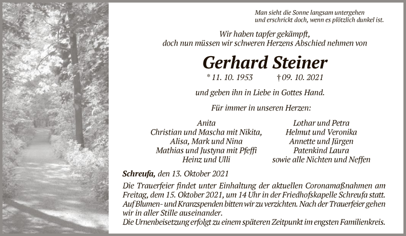 Traueranzeige für Gerhard Steiner vom 13.10.2021 aus HNA