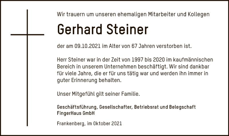 Traueranzeige für Gerhard Steiner vom 14.10.2021 aus HNA