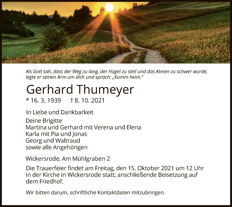 Traueranzeige für Gerhard Thumeyer vom 13.10.2021 aus HNA
