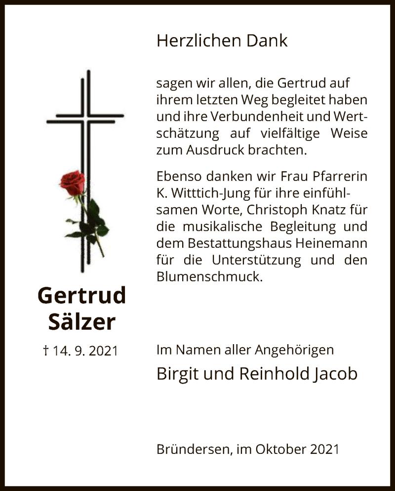 Traueranzeige für Gertrud Sälzer vom 16.10.2021 aus HNA