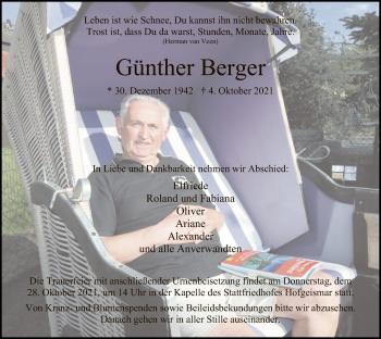 Traueranzeige von Günther Berger von HNA