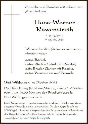Traueranzeige von Hans-Werner Ruwenstroh von HNA