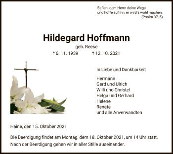 Traueranzeige von Hildegard Hoffmann von HNA