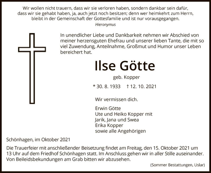 Traueranzeige für Ilse Götte vom 14.10.2021 aus HNA