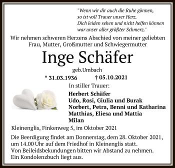 Traueranzeige von Inge Schäfer von HNA