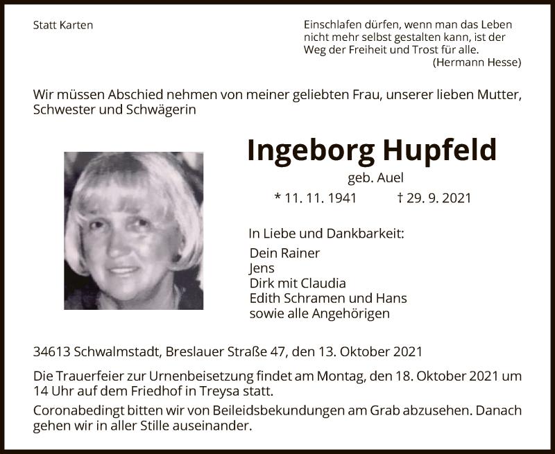 Traueranzeige für Ingeborg Hupfeld vom 14.10.2021 aus HNA