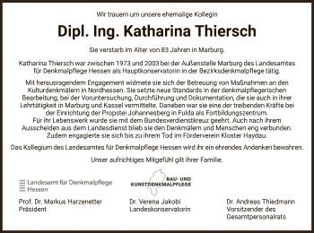 Traueranzeige von Katharina Thiersch von HNA