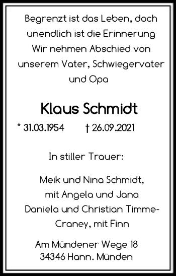 Traueranzeige von Klaus Schmidt von HNA