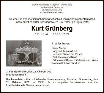 Traueranzeige von Kurt Grünberg von HNA