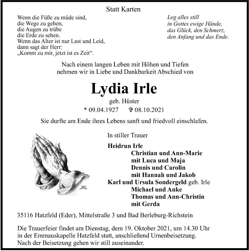 Traueranzeige für Lydia Irle vom 13.10.2021 aus HNA
