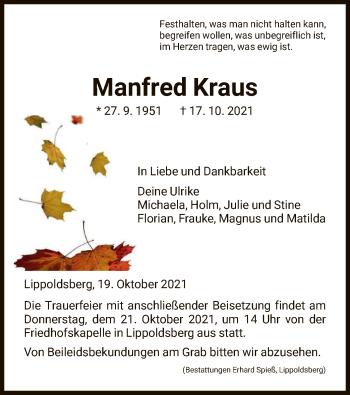 Traueranzeige von Manfred Kraus von HNA
