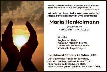 Traueranzeige von Maria Henkelmann von HNA