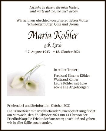 Traueranzeige von Maria Köhler von HNA