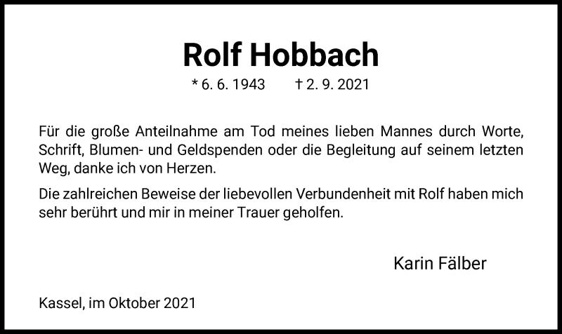 Traueranzeige für Rolf Hobbach vom 09.10.2021 aus HNA