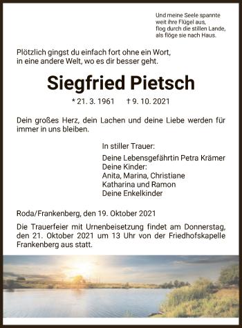 Traueranzeige von Siegfried Pietsch von HNA