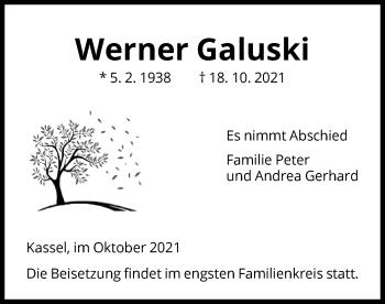 Traueranzeige von Werner Galuski von HNA