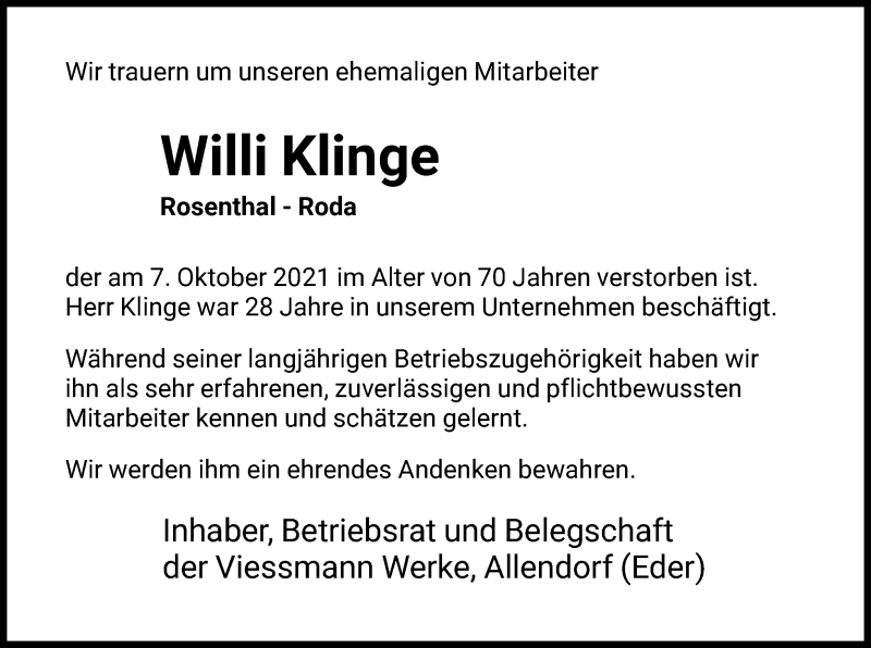 Traueranzeige für Willi Klinge vom 14.10.2021 aus HNA