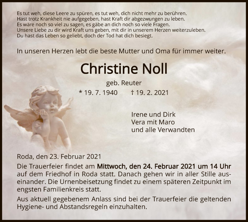 Traueranzeige für Christine Noll vom 23.02.2021 aus HNA