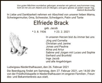 Traueranzeige von Elfriede Brack von HZ