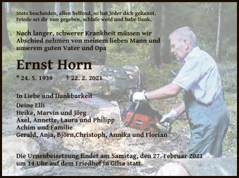 Traueranzeige von Ernst Horn von HNA