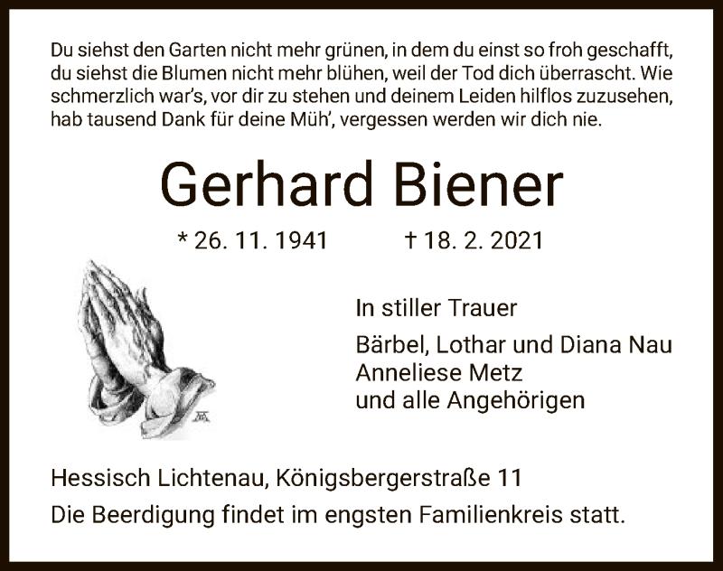 Traueranzeige für Gerhard Biener vom 20.02.2021 aus HNA