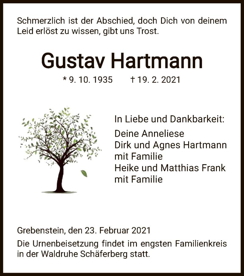 Traueranzeige für Gustav Hartmann vom 23.02.2021 aus HNA