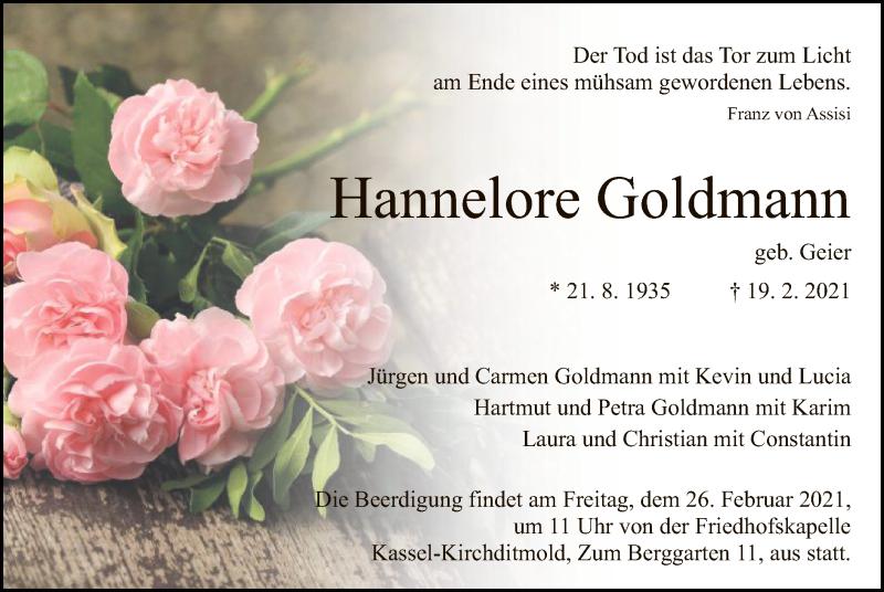 Traueranzeige für Hannelore Goldmann vom 23.02.2021 aus HNA