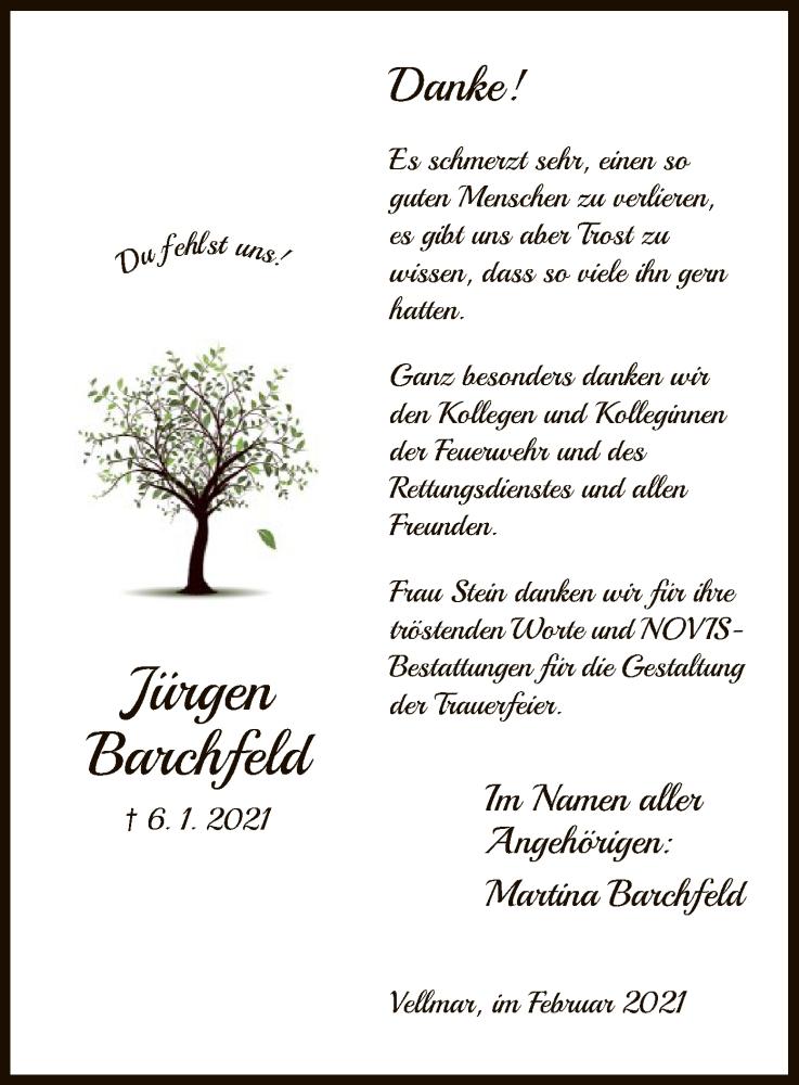 Traueranzeige für Jürgen Barchfeld vom 06.02.2021 aus HNA