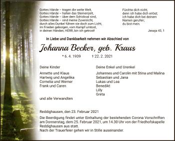 Traueranzeige von Johanna Becker von HNA