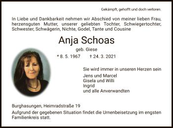 Traueranzeige von Anja Schoas von HNA