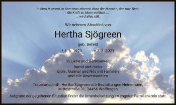 Traueranzeige von Hertha Sjögreen von HNA