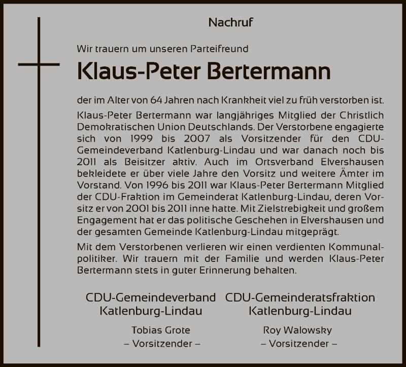 Traueranzeige für Klaus-Peter Bertermann vom 25.03.2021 aus HNA