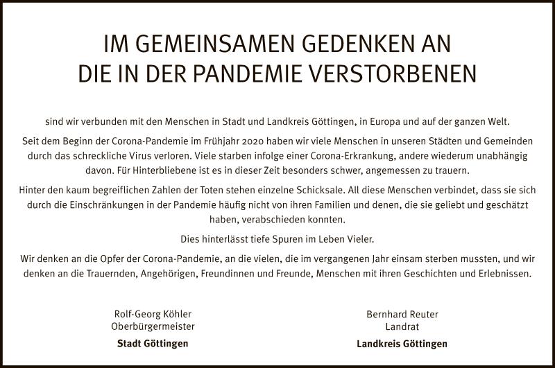 Traueranzeige für Die in der Pandemie Verstorbenen vom 17.04.2021 aus HNA