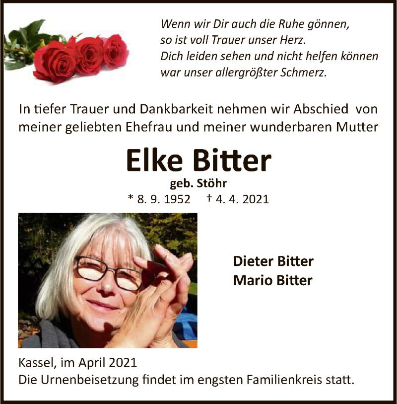 Traueranzeige für Elke Bitter vom 10.04.2021 aus HNA