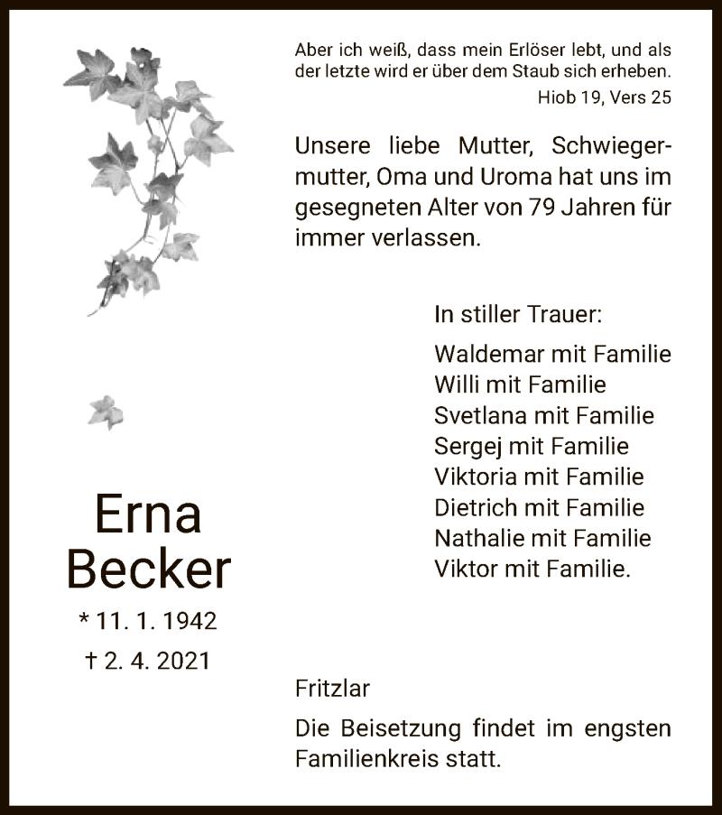 Traueranzeige für Erna Becker vom 08.04.2021 aus HNA