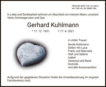 Traueranzeige von Gerhard Kuhlmann von HNA