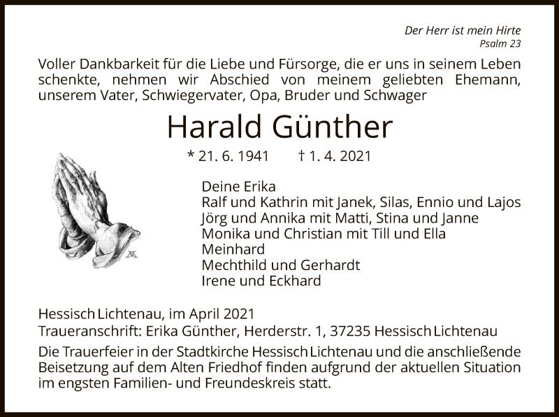 Traueranzeige für Harald Günther vom 07.04.2021 aus HNA