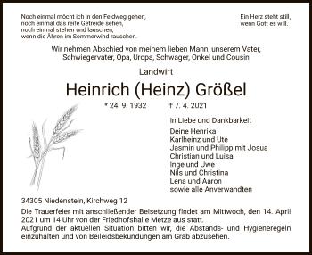 Traueranzeige von Heinrich Größel von HNA
