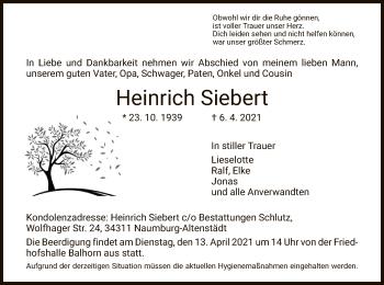 Traueranzeige von Heinrich Siebert von HNA