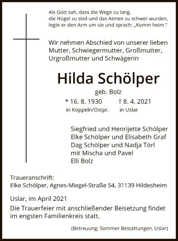 Traueranzeige von Hilda Schölper von HNA