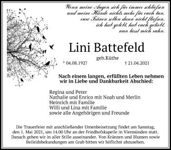 Traueranzeige von Lini Battefeld von HNA