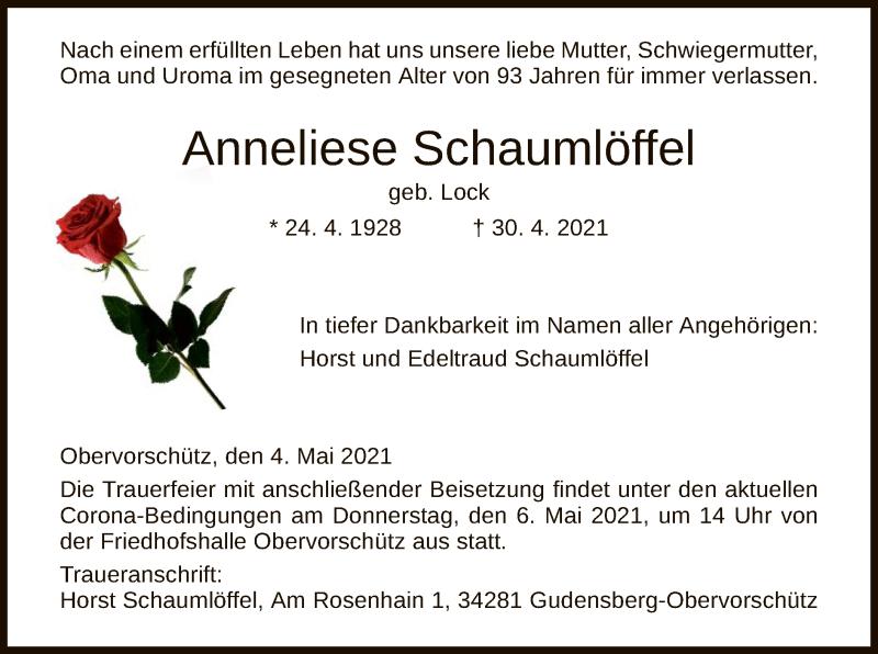 Traueranzeige für Anneliese Schaumlöffel vom 04.05.2021 aus HNA