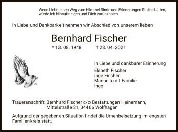Traueranzeige von Bernhard Fischer von HNA