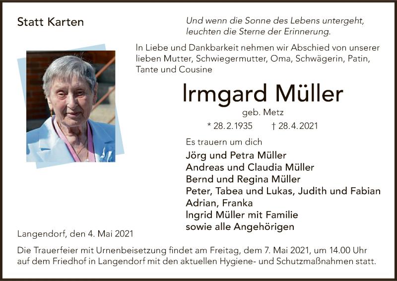 Traueranzeige für Irmgard Müller vom 04.05.2021 aus HNA