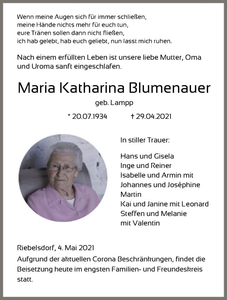 Traueranzeige für Maria Katharina Blumenauer vom 04.05.2021 aus HNA
