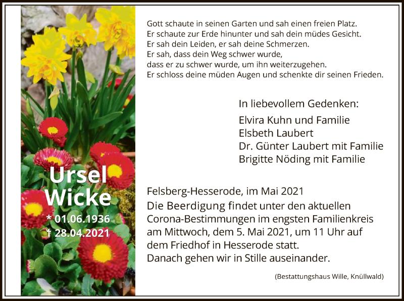 Traueranzeige für Ursel Wicke vom 03.05.2021 aus HNA