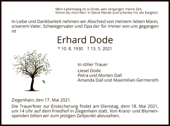 Traueranzeige von Erhard Dode von HNA